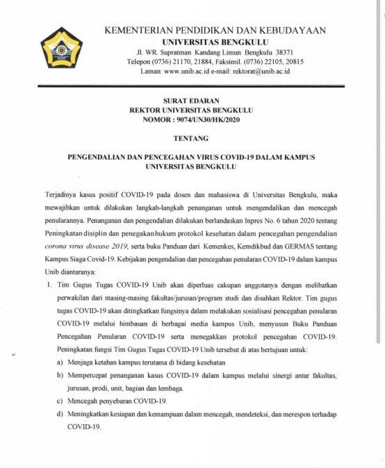 Surat Edaran Rektor Universitas Bengkulu  Tentang Pengendalian dan Pencegahan Virus Covid-19