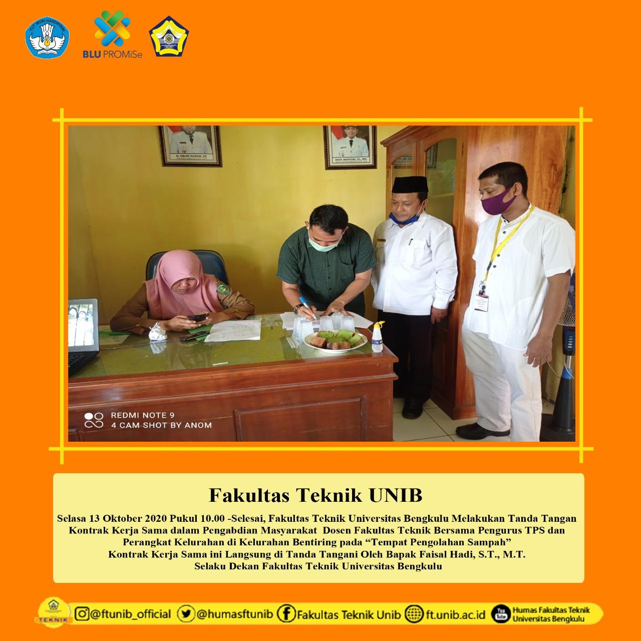 Penandatangan Kontrak Kerjasama Pengabdian Fakultas Teknik UNIB dengan Perangkat Kelurahan Bentiring