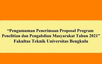 Pengumuman Penerimaan Proposal Program Penelitian dan Pengabdian Masyarakat Tahun 2021