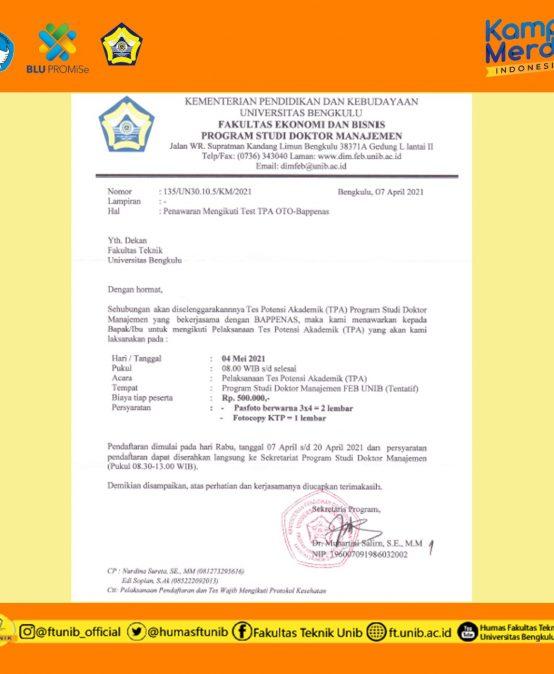 Pendaftaran Tes Potensi Akademik OTO-BAPPENAS