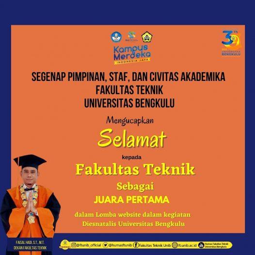 Website Fakultas Teknik Menjadi Juara Pertama Dalam Lomba Website Pada Kegiatan Dies Natalis ke 39 Universitas Bengkulu