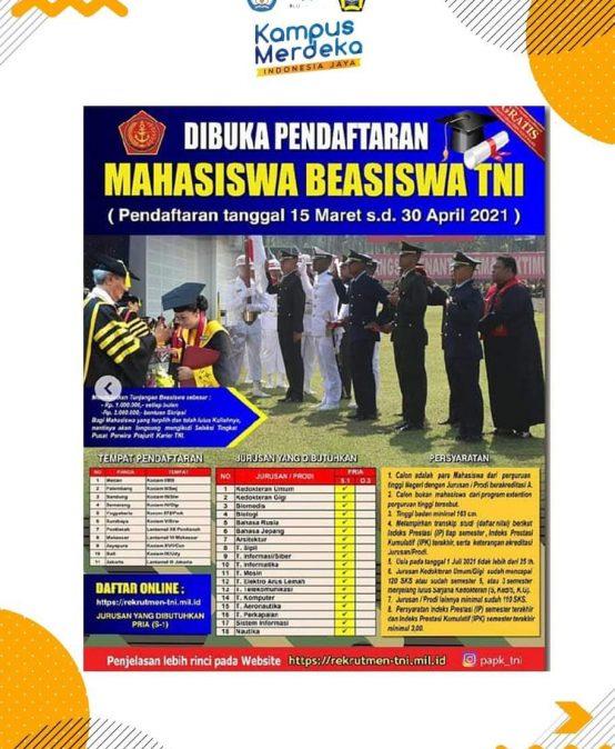 Penerimaan Calon Mahasiswa Beasiswa TNI 2021