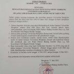Surat Edaran Tentang Pengaturan Kegiatan dan Penutupan Pintu Gerbang UNIB Selama Idul Fitri 1422H